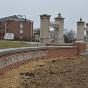 EKU wall, Turner Gateway, and steps at the new entrance of campus March 3, 2016