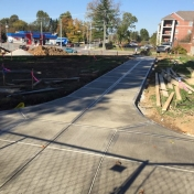 New sidewalks behind the Pedestrian Gateway