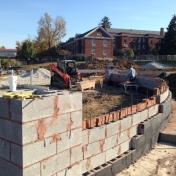 Beginning to brick the curved wall for Pedestrian Gateway